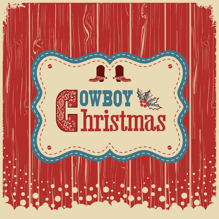 Cowboy christmas card with text on wood board. western american illustration background