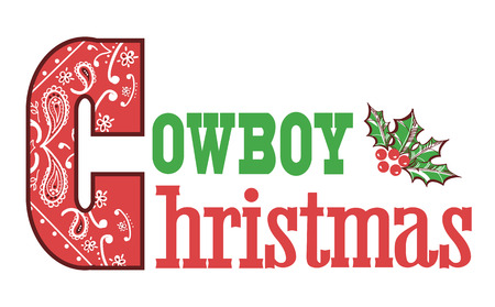 americana: Cowboy christmas text isolated on white for design