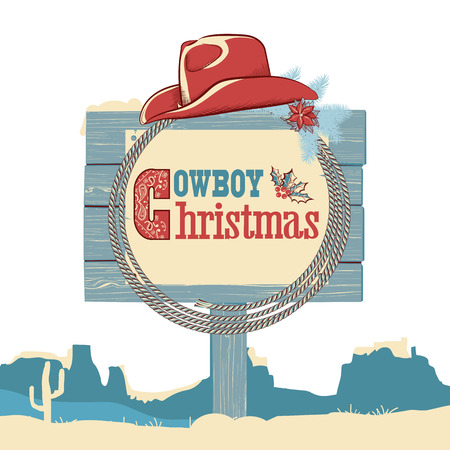 Cowboy christmas text on wood board.