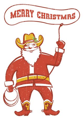 Santa Claus in coywboy boots twirling a lasso.Vector illustration isolated on white