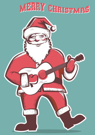 december holidays: Santa Claus playing guitar.Vector isolated illustration with text merry christmas Illustration