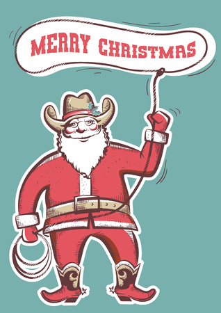 Santa Claus in cowboy boots twirling a lasso with text merry christmas.Vector illustration isolated on white