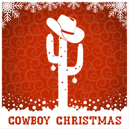 christmas cactus: American Cowboy red christmas card with text and holiday decoration.Vector western american illustration