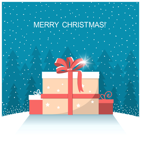 winter snow: christmas presents on winter snow landscape.vector illustration with text