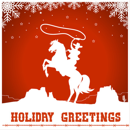 christmas card with cowboy riding a horse silhouette.Vector western american illustration