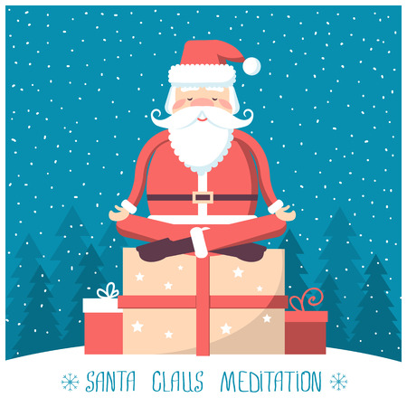 christmas present box: Santa  meditation and sitting on big present box in snow winter landscape.Vector christmas illustration with text