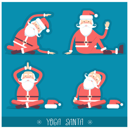 Santa claus doing yoga isolated.Vector christmas blue red card illustration with text