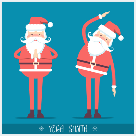 Santa claus doing yoga.Vector christmas blue red card illustration with text
