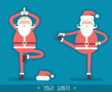 Santa claus doing yoga isolated for design.Vector christmas blue red card illustration with text