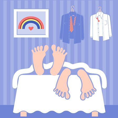 couple in bed: Gay couple sleeping in bed.Vector illustration