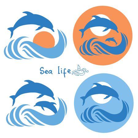 Delfines saltando en el mar logotipo waves.Vector aislados en blanco