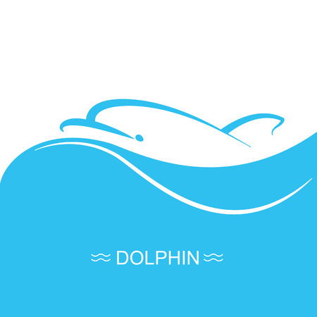 underwater fishes: Dolphin logo on blue sea wave background.Vector flat symbol illustration for text Illustration