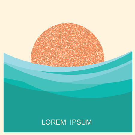 sun and sea waves illustration.Vector vintage style poster for text