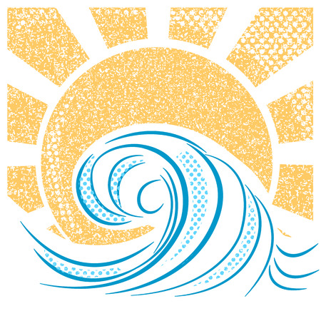 water stream: Vintage sea waves and sun. Vector illustration of sea landscape for text Illustration