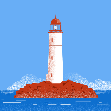 sea horizon: Lighthouse seascape horizon.Vector illustration with sea and blue sky horizon Illustration
