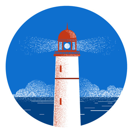 Lighthouse seascape label.Vector illustration with sea and blue sky horizon