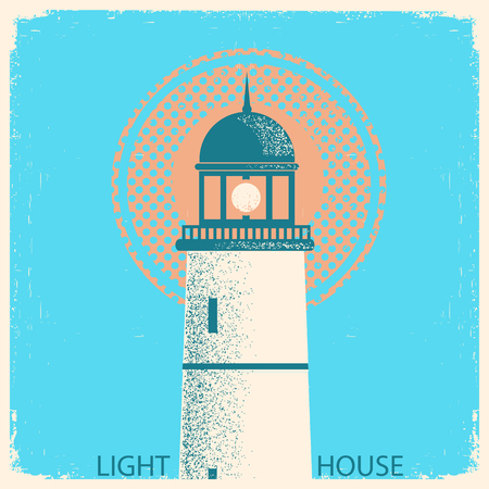 old poster: Lighthouse poster on old paper texture background Illustration