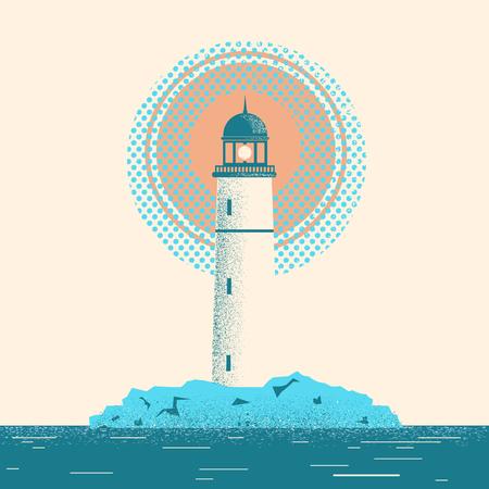 Lighthouse seascape horizon with sea background for design Stock Illustratie