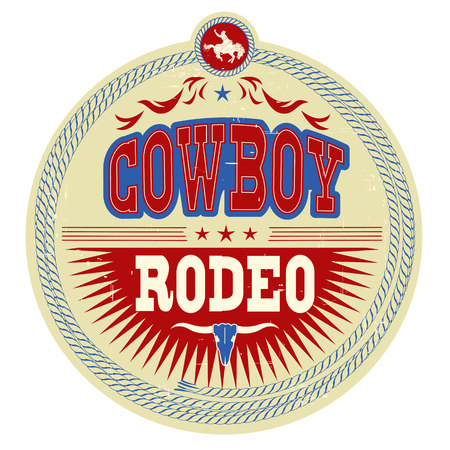 Wild West rodeo label with cowboy text isolated on white.Vector vintage illustration Illustration