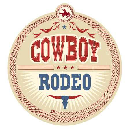 Wild West rodeo label with cowboy text isolated on white