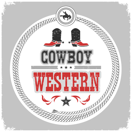 western label with cowboy shoes and wild west decotarion isolated on white.