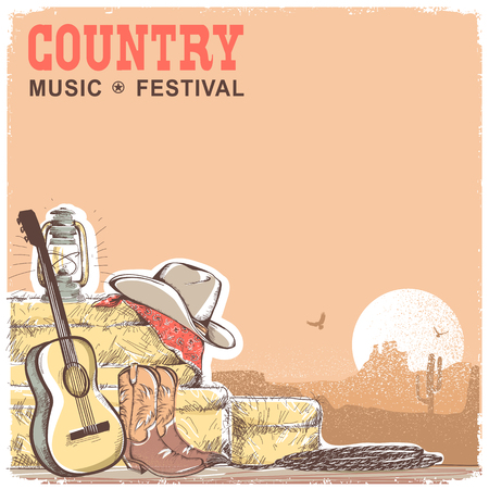 Country music background with guitar and american cowboy equipment.Vector hand draw ilustration with text