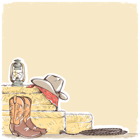 Cowboy background with western boots and west hat.Hand draw equipment for riding horses
