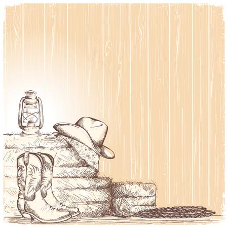 Disegnare a mano cowboy sfondo con stivali western e cappello ovest e attrezzature per cavalli a cavallo Vettoriali