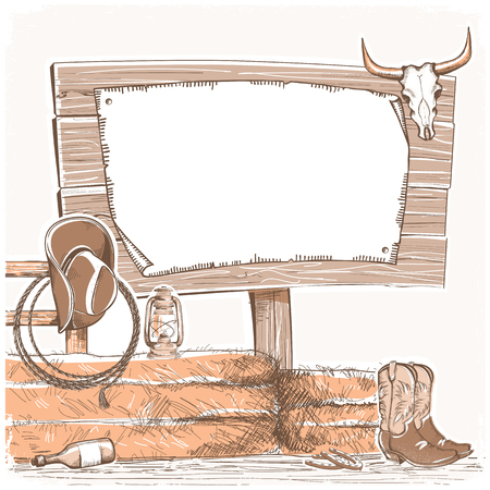 Cowboy background with wood board for text. American ranch.Hand draw illustration with cowboy equipment Illustration