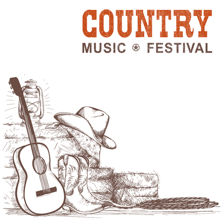 Country music background with guitar and american cowboy shoes and western hat.Vector hand draw ilustration for text Ilustração