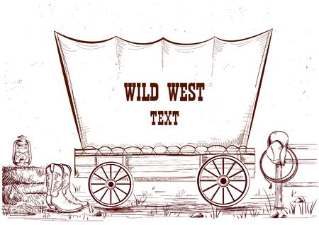 Wilde westenwagen. De vector hand trekt illustratieachtergrond voor tekst