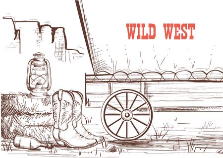 Wild west hand tekenen achtergrond met cowboy laarzen en westerse wagen.Vector Amerikaanse prairies
