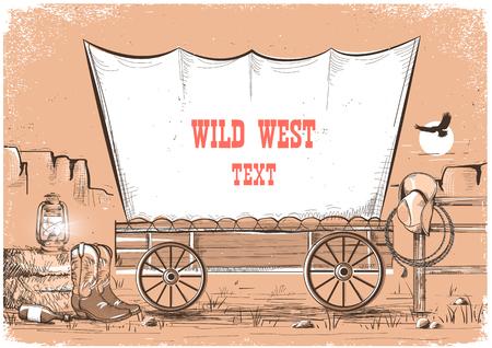 Wilde westen wagen achtergrond voor tekst. Cowboy achtergrond met Amerikaanse prairies