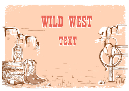 Wild west cowboy background with american clothes and prairies