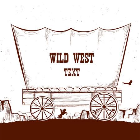 Wilde westenwagen met Amerikaanse prairies. Vectorillustratieachtergrond voor tekst