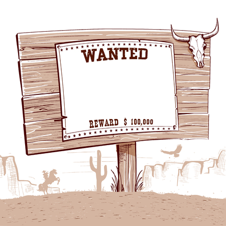 Wanted western paper on wood board for text..Cowboy ranch with american desert landscape Stock Illustratie