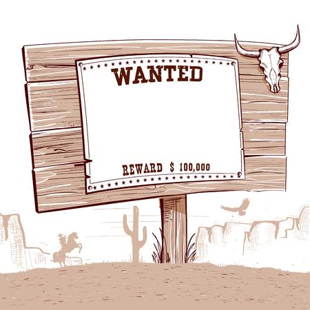 Voleva carta occidentale su tavola di legno per il testo ... Ranch Cowboy con paesaggio desertico americano Vettoriali