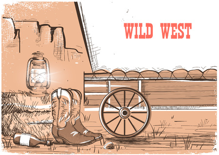 Wild west achtergrond met cowboy laarzen. Vector Amerikaanse prairies in de avond