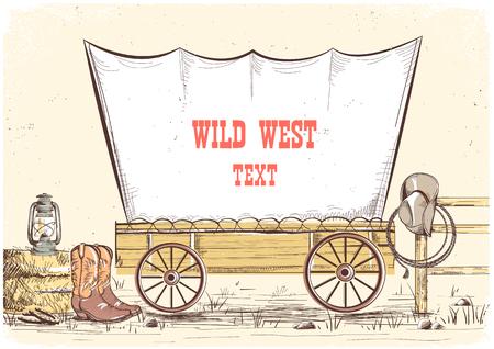 Salvaje oeste wagon.Vector mano dibujar vaquero ilustración de fondo para el texto Ilustración de vector