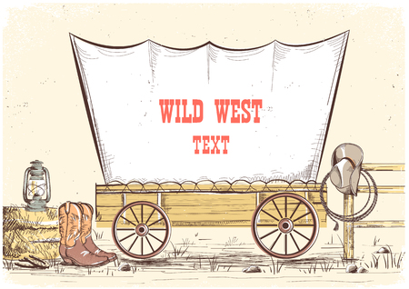 Wild west wagon.Vector hand draw cowboy illustration background for text Vettoriali