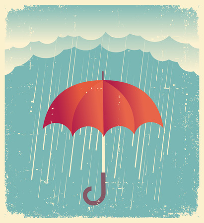 durty: Rain cloud with red umbrella .Vintage poster on old paper for design Illustration
