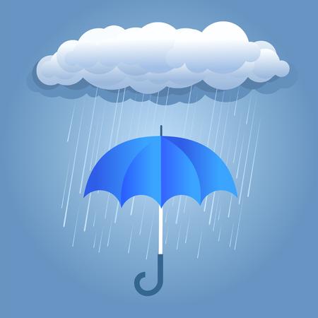 Rain dark cloud with umbrella .Vector illustration