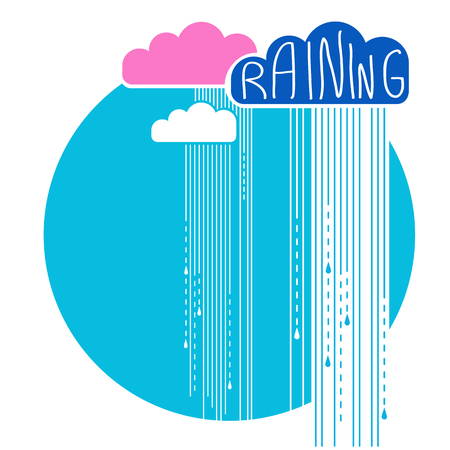 isilated: Rain clouds background.Vector color flat style illustration for text