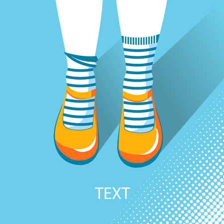 knee sock: Top view of girl feet with summer shoes.Vector color flat illustration for text