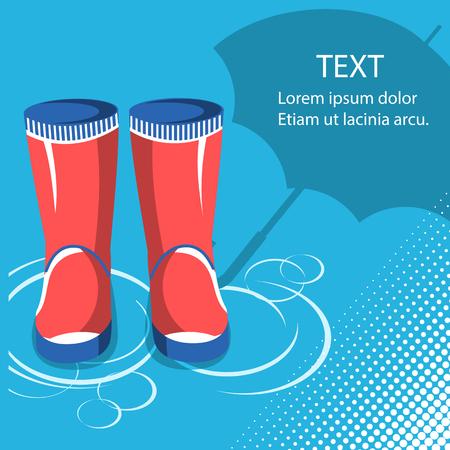 Pioggia background.Red stivali in gomma con ombrello per il testo