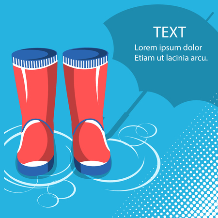 Rain background.Red rubber boots with umbrella for text Illustration