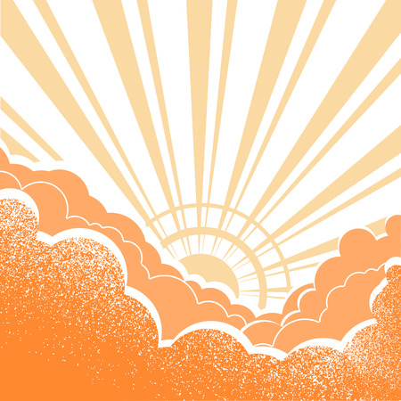 beautifull: Sunrise with beautifull clouds.Vector yellow poster illustration for text