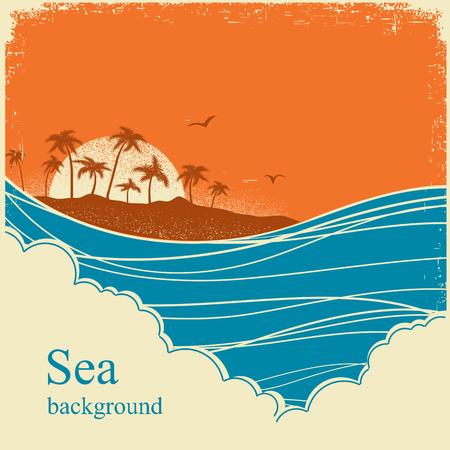 sea horizon: Sea waves.Seascape horizon illustration on old vintage poster for text Illustration