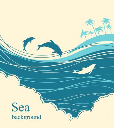 sea horizon: Dolphins in blue sea wave.Seascape illustration horizon for text
