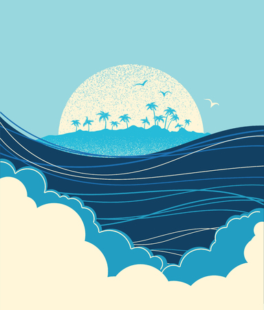 Big ocean waves and tropical island.Vector blue background